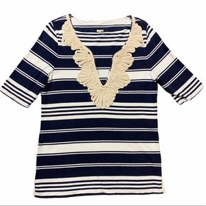 J.Crew Rope Necklace Tunic Striped top